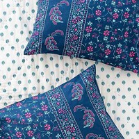 Plum & Bow Kiri Stamp Floral Sham Set- Blue One