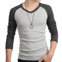 Mens Casual Long Sleeve Raglan Baseball V Neck T-shirts (149D)