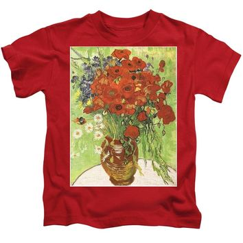 Vincent Van Gogh Poppies With Daisies - Kids T-Shirt