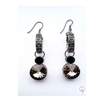 Light Brown and Black Crystal Drop Earrings - Upcycle Jewellery