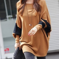 Coffee Blends Women Fashion Round Neck Bat Sleeve New Korean Autumn Style Simple Casual Loose Tops One Size FZ72489-28-Coffee