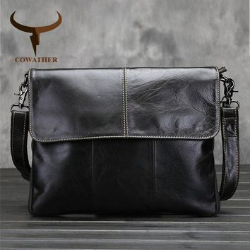 COWATHER Vintage 2017 cow genuine leather messenger bags for men handbags satchels Oil wax leather high quality free shipping