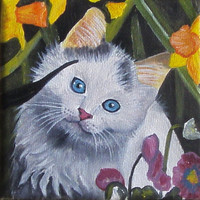 MINIATURE Cat Painting, pet portrait, Oil Painting, Cat, 4x4i, Kitty, Birthday gift, Christmas gift, Easel incl, Pet lovers, Free shipping