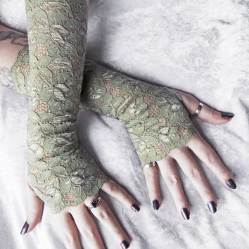 Thicket Lace Arm Warmers | Sage Green Floral | Wedding Bridal Lace Gloves Woodland Mori Girl Gothic Victorian Belly Dance Druid Lolita Goth