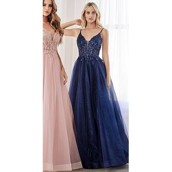 Long A-Line Dress Navy Blue Beaded Applique Bodice Layered Tulle Skirt
