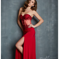 Night Moves by Allure - Red Jersey & Beaded Bustier-Style Prom Dress Prom 2015