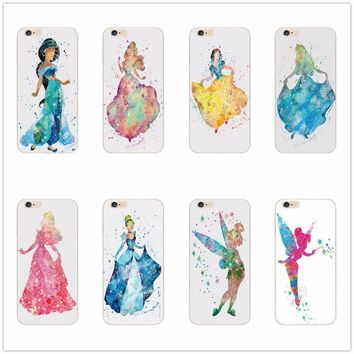 For Apple iPhone 7 SE 5 5S 6 6S 7 Plus 6SPlus Princess Alice in Wonderland Ariel Jasmine Cinderella elves tinker bell Case Cover