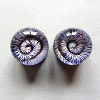 "Ear gauges in glass~ 14mm - 9/16"" ~  sold as pair ~ gauged spiral landscape ~ body jewely ~ glass gauged plugs for stretched ears"