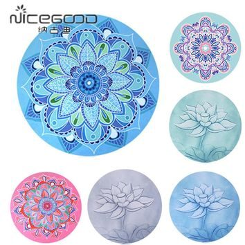 Little Round Meditation Yoga Mat Printed 1mm Sude Natural Rubber Ultralight Portable Foldable Yoga Cushion With Storage Bag