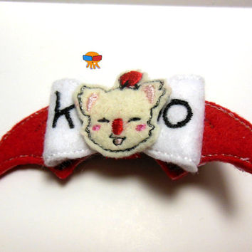 Very helpful bear-esque creature from final fantasy inspired 3D felt bow felt clippie physical item made to order