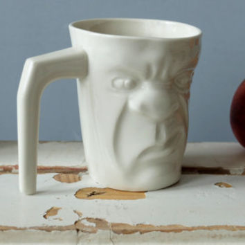 White Funny Tea Cup , Coffee Lovers , Grumpy Mug , Morning Mug , Face Cup , Quirky Gift , Funny Mug , Ceramics & Pottery , SCULPTUREinDESIGN