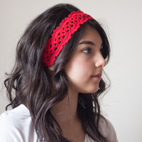 Crochet Headband, Crochet Hair Accessories, Crochet Headpiece, Red Headband, Crochet Hair Tie, Bridesmaid Hair Accessories,