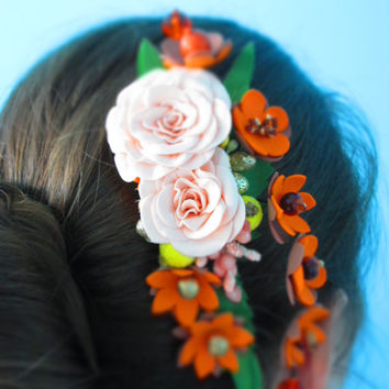 Comb for hairstyle Cream accessories Rustic Christmas Wedding head band Bridal fascinator Fall flower Orange wedding Cream wedding Champagne