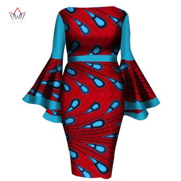 African Women Dress 2017 New Summer Lady Print Wax Dresses Bazin Riche Mid-Calf Africa Sexy Speaker sleeves Dress WY1217