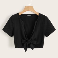 Plunging Neck Knot Front Top
