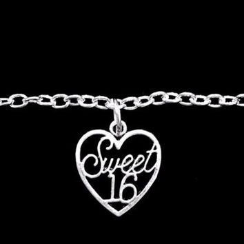 Sweet Sixteen 16 Heart Birthday Gift Daughter Charm Bracelet