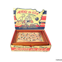 Across the USA - Vintage Maze Game - American Toy and Furniture Co - Action Ball Control - 1960s - Mid Century Kids Game - Wood - Geography