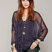 Sheer Oversize Ruffle Pintuck Shirt