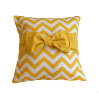 "Easter Sale! Yellow Pillow Cover. Chevron Pillow. One 16"" x 16"". Pillow Cover with bow. Bow Pillow Cover. Nursery Decor. Home Decor Pillows."