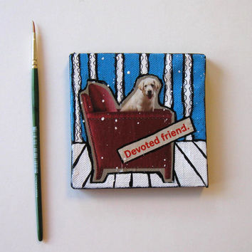 Animal Magnet, Dog Painting, Mini Canvas, Home Decor