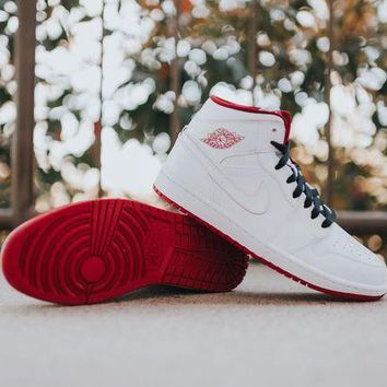 UCANUJ3V Air Jordan 1 Mid BG (White/Gym Red-Black)