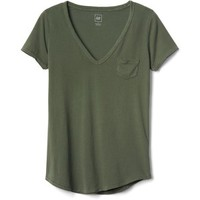 Gap Women Vintage Wash Sueded V Neck Tee