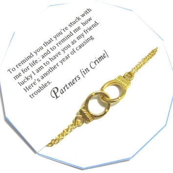 Gift for best friend, partners in crime bracelet, REMINDER Double Chain Gold Plated, best friend gift, Gift For friend