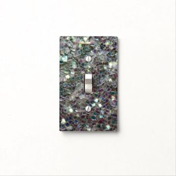 Sparkly colourful silver mosaic print: light switch cover