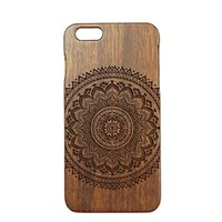 "FUPU Wood iPhone 6 Case Engraved Wooden Mandala iPhone 6 Case Unique Real Wood Cover for iPhone 6 (4.7"") (R01)"