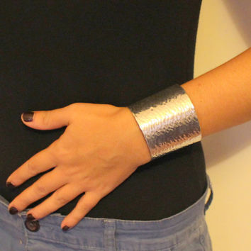 Hammered Wide Cuff Silver Gold  Wrist Bracelet made of brass , copper ,aluminium or german silver.
