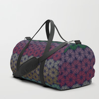 A pattern of composed colored fireworks. Duffle Bag by albert12001