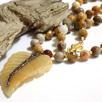 Agate Stone Necklace, Leaf Necklace, Carved Jade Pendant, Handcrafted Jewelry, Long Beaded Necklace, Yellow Necklace for Women, Gift for Her