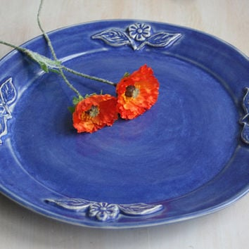Large Rustic Platter Blue Indigo Glaze with Carved Floral Design Handmade Pottery Serving Dish Ready to Ship Made in USA