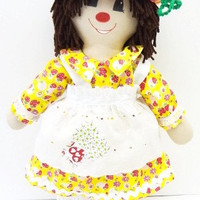 rag doll, clown, doll, cloth body, big feet, patches, red nose, ragdoll, big yellow shoes NF94