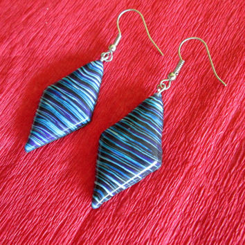 blue black turquoise earrings,polymer clay jewelry,retro earrings,colorful earrings,wearable art,boho earrings,hippie earrings,gift for her