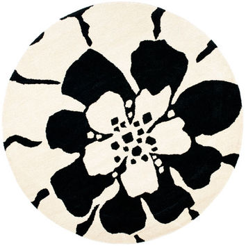 Safavieh SOH730A-6R Soho Black and White Round: 6 Ft. In. x 6 Ft. In. Area Rug
