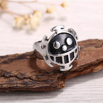 Moonsoul 2016 new arrival Hot Anime One Piece Luffy Raw Ring black electroplating mens ring cosplay jewelry gift for boyfriend