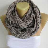 ON SALE - Chunky Knit Scarf , crochet infinity scarf, knitted scarf,christmas gift- for her -Fashion accessories