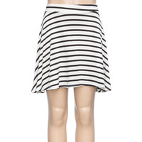 Full Tilt Stripe Girls Skater Skirt Cream/Black  In Sizes