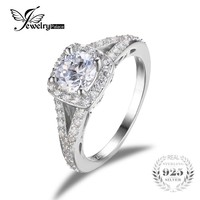 JewelryPalace 2.2ct Halo Solitaire Engagement Ring Genuine 925 Sterling Silver Jewelry Wedding Rings For Women