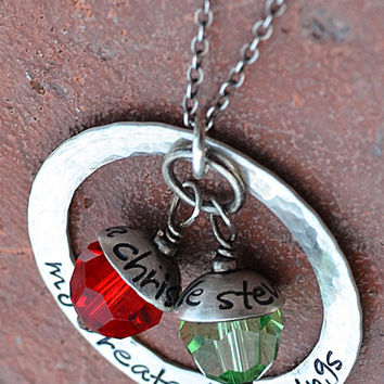 Mommy Necklace Sterling silver washer necklace with swarovski crystal and sterling silver engraved bead caps hand stamped .925