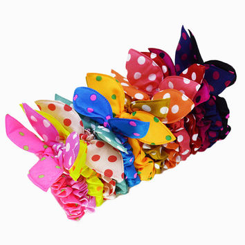 Mini Small Bunny Rabbit Ears Headwear Fabric Polka Dot Stripe Elastic Headbands Boutique Bows Ponytail Hair Ties Accessories