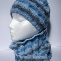 Women's hand knitted blue infinity cowl neckwarmer and beanie hat set