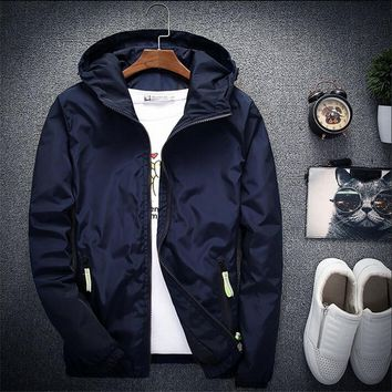2018 New Spring Autumn Bomber Windbreaker Jacket Men Casual Slim Hooded Thin Zipper Raincoat Outwear Jacket Plus Size 6XL 7XL