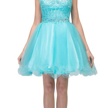 Tiffany Blue Beaded Short Prom Dress with Illusion Neckline