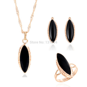 Hot Enamel Jewelry Set Black Crystal Pendant Necklace Ring Set Fashion Women Jewelry Set 3pcs/Set