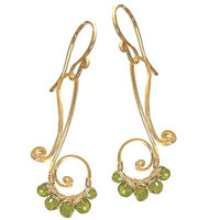 Nouveau 72 Hammered swirls wrapped with peridot