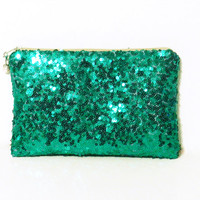 Green Sequin Clutch-Personalized Bridesmaid Gift-Customized Bridesmaid Gift-Emerald Green Sequin Clutch-Emerald Green Sequin Clutch Purse
