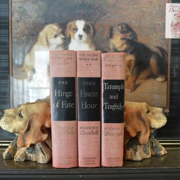 Pair English or Irish Setter / Retriever Dog Head Bookends on Faux Bois Stands