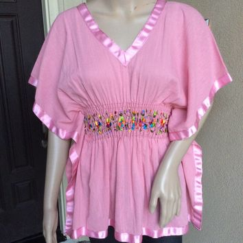 Mexican Embroidered Pink Top Butterfly Style